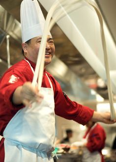 Executive Chef, Tony Wu making noodles. Photo: Blair Heagerty  Martin Yan: M.Y. China, Vietnam Travels and Chinese New Year. Post by Mary Ladd - watch the cool noodle video!