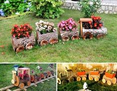 Log Train Flower Pots. Creative ways to add color and joy to a garden, porch, or yard with DIY Yard Art and Garden Ideas! Repurposed ideas for the backyard. Fun ideas for flower gardens made from logs, bikes, toys, tires and other old junk. ~ featured at LivingLocurto.com #gardenyardartrepurposed