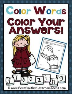 FREE Winter Fun! Color Words - Color Your Answers Printable #FREE #Freebie #TPT #Winter #Mittens