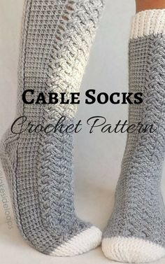 Crochet Pattern - Parker Cable Socks by Lakeside Loops (includes 11 sizes - Baby (6 Months) through to Mens/Womens Adult sizes) #Ad