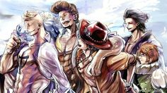"""Let's introduce you to Pops."" Marco, Thatch, Ace, Izo and Haruta One Piece"