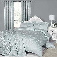 Butterfly Jacquard Duvet Cover Set Duck Egg - Double