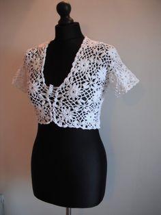 how to crochet white bolero free pattern tutorial http://youtu.be/fPoIWCayZSw
