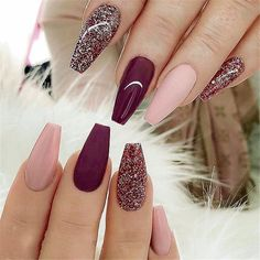 It's important to maintain the fashion and popularity of nails. In order to achieve your style in this spring, there is no better choice than coffin nails. Coffin nails can be short or long. Long coffin nails are bold and fashionable. The coffin nail Cute Acrylic Nails, Cute Nails, Pretty Nails, Gel Nails, Toenails, Acrylic Nails Maroon, Nail Polish, Maroon Nails, Acrylic Art