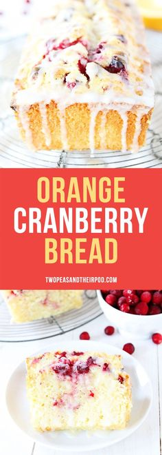 This easy Cranberry Orange Bread is a MUST make for the holiday season. Sweet or. This easy Cranberry Orange Bread is a MUST make for the holiday season. Sweet orange bread dotted with fresh cranberries and drizzled with an orange glaze! Easy Desserts, Delicious Desserts, Dessert Recipes, Yummy Food, Brunch Recipes, Breakfast Recipes, Holiday Baking, Christmas Baking, Christmas Desserts