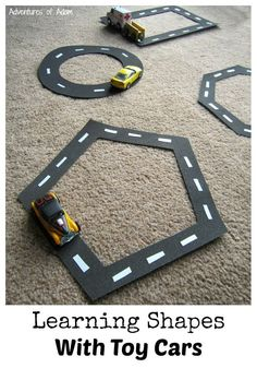 Learning Shapes With Toy Cars activity for preschoolers and toddlers! Simple DIY educational activity
