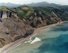 Biscaya Bay with the long sandy coast Aitzuri, next to Zumaia. As you can see, the terrain is very hilly here by the coast in northern Spain.