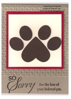 Dog sympathy card created with Stampin' Up! Punches and So Sorry stamp set.