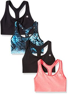 676ad984713c6 Champion Womens Absolute Sports Bra with Smoothtec Band Pack of 4 BlackNeon  Flare HeatherSea Bottom Wingspan