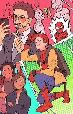 Peter Parker and Tony Stark - Marvel Fan Arts and Memes Comics Spiderman, Iron Man Spiderman, Avengers Comics, The Avengers, Marvel Jokes, Amazing Spiderman, Marvel Funny, Superfamily Avengers, Spideypool