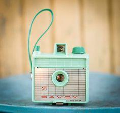 Vintage Retro Mint Green Savoy Camera - Rare - Box Camera - Bakelite