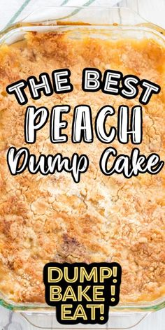 Our old fashioned Peach Dump Cake recipe is so crazy easy to make - it will be your new favorite dessert recipe! You only need just 4 ingredients incl Peach Cake Recipes, Dump Cake Recipes, Homemade Cake Recipes, Dessert Recipes, Boxed Cake Recipes, Dump Cakes, Poke Cakes, Frosting Recipes, Pie Recipes