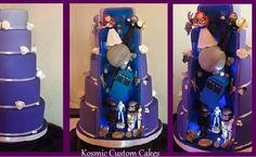 Wedding Hidden Scene - Epic Geek Cake!  Tardis Storm Troopers Alien vs Predator  Zombies Thor Wolverine Captain America Light Saber  Ombre Purple Wedding Cake  ALL IN ONE!!