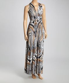 Love this Gray & Taupe Abstract Crisscross Maxi Dress by Wall Street on #zulily! #zulilyfinds