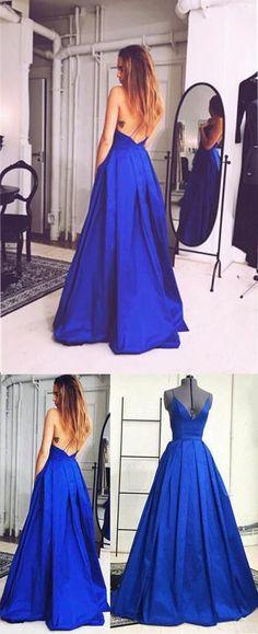 Charming Royal Blue Prom Dress,Sexy Sleeveless Evening Dress,Sexy Open Back Prom Dress,217