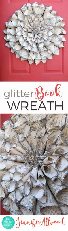 Repurpose old books with a DIY Glitter Vintage Book Wreath Door Decor | Magic Brush | Door Decorating Ideas | Girls Night In Party Ideas |