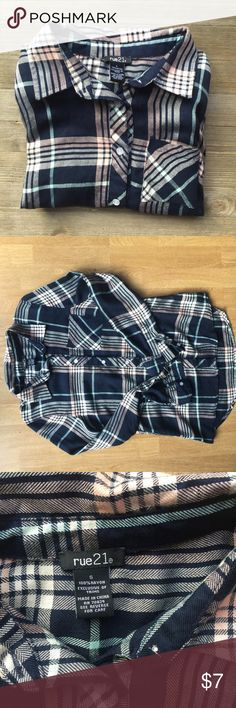Flannel top pink and blue flannel top. Never worn. Super cute! Rue 21 Tops