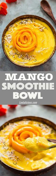 A Mango Smoothie Bowl is a fantastic way to start the day! This healthy recipe also makes a wonderful post- workout treat or healthy dessert. #mango #smoothiebowl #goldenmilk #vegan Vegan | Golden Milk | Banana | Tropical | Pineapple | Coconut Milk | Gluten Free | Chia | Simple | Easy | Frozen | Without Yogurt | Breakfast | Dairy Free