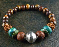 Yoga Bracelet - Rudraksha - Yoga Meditation - Mala Prayer Beads - Bead Stretch Bracelet - Yoga Jewelry - Om Jewelry - Chyrsocolla Beaded Bracelets, Necklaces, Yoga Bracelet, Yoga Meditation, Picasso, Prayers, Handmade Jewelry, Beads, Etsy