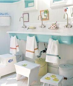Kids bathroom. Towel rings at kid height