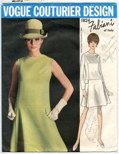 1960s Fabiani of Italy Vogue Couturier Design 1824 Misses Princess Seam Low Waist Dress Vintage Sewing Pattern Bust 38 UNCUT