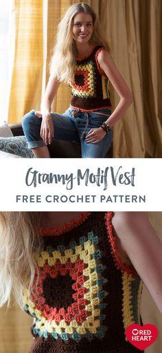 Crochet Vest Pattern, Granny Square Crochet Pattern, Crochet Granny, Knit Crochet, Crochet Patterns, Crochet Vests, Free Pattern, Granny Square Sweater, Jumper Patterns