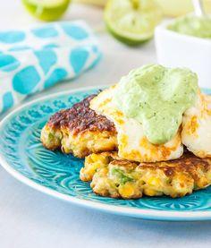 Corn and Avocado Fritters with Avocado, Yoghurt, Coriander & Lime Sauce Recipe - RecipeChart.com