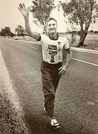 Cliff Young: Won World's Toughest Race he was around 60 years old and was a patato grower near Ballarat in Victoria Australia.