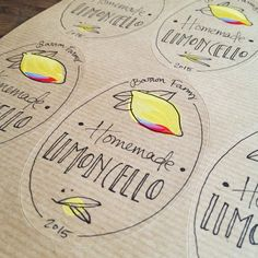 10 Limoncello labels - Personalised Oval labels, customised stickers - Limoncello, or any other preserve! Hand painted food labels