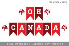 Oleander and Palm: Geometric Canada Day Bunting Canada Day Party, Canada Day 150, Happy Canada Day, O Canada, Diy Canada Day Decor, Canada Day Crafts, Free Printable Art, Printable Banner, Free Printables