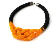 Beads crochet rope necklace a black and orange ,Josephine knot necklace ,beaded statement necklace ,beadwork ,mothers day gift