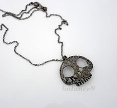 Skull necklace Gunmetal black halloween day of the by balance9, $22.00