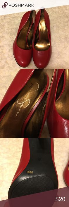 Red pumps Almost new bottom is not worn at all. Few nicks. But look great. Jessica Simpson Shoes Heels