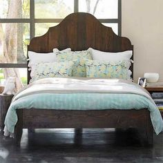 gustavian vintage bed made from reclaimed douglas fir.    hand-planed + water-based stained and hard oiled waxed + gorgeous.