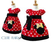 Custom Boutique style Minnie Mouse Peasant Dress Red by cutieflair, $39.99