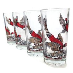 Vintage Glass Tumblers-Red Pheasant- Drinking Glasses-Woodland-Set of 4-Retro Barware-Rustic Bar-Birds-Game Birds-Father's Day