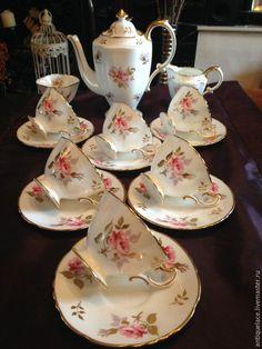 """Купить Винтажный чайный сет""""HAMMERSLEY 'Pink Roses""""(Patt. 5555) - бледно-розовый, фарфор, фарфоровая тарелка"""