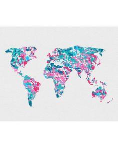 World Map 2 Watercolor Art - VividEditions