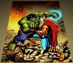 INCREDIBLE HULK VS MIGHTY THOR MARVEL COMIC BOOK POSTER AVENGERS DEFENDERS WAR X