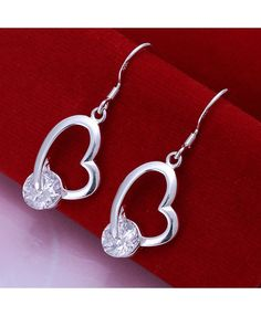 DIY Earrings Exquisite CZ Crooked Heart Earrings Silver