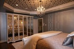 Dallas designer Melinda Faranetta used our pattern for this ceiling! The Moroccan Key stencil and the Modello® Designs Eastern Allover masking stencil (EasAll110) would both work!