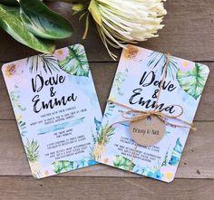 Tropical floral watercolor watercolour wedding engagement invitation suite design suitable for destination wedding tropical island Queensland bali Thailand Hawaii