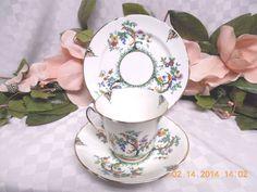 Duchess china Dinnerware E & B L England Birds & floral Cup & Saucer & bread #cupandsaucerandbreadplate #DuchesschinaDinnerwareEBL