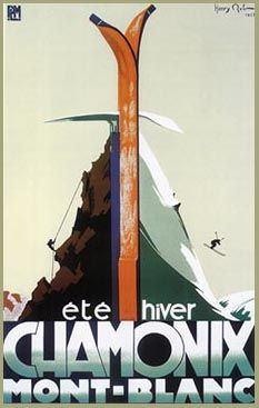 Chamonix French Art Deco Ski Poster - Ice Axe & Skis. Ski Poster showing the mix of skiing and alpine sports for which Chamonix is famous. Size 19.5 x 27.5 inches.