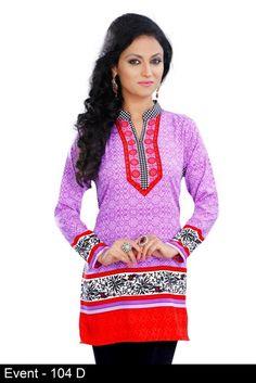Purple American Crepe Short Tunics Kurtis - Crepe Kurtis / Tunics Manufacturer & Exporter   Kurtisindia