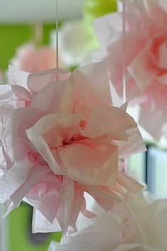 tissue paper puffs- decor. Def making these with my extra tissues. so cute and easy to do. #passthepuffs Thanks Influester!