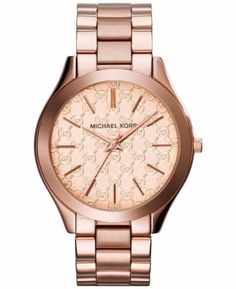MICHAEL-KORS-MK3336-WOMENS-ROSE-GOLD-TONE-SLIM-RUNWAY-OVERSIZE-LOGO-DIAL-WATCH