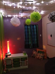 Nearly finished product- CYMHS Chillax room, now also has Tee Pee and Mirrors. The drawers are full of sensory games and goodies. Bean bags too!
