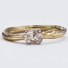 Champagne Diamond Engagement Ring  Faceted Oval NEW  New by bmjnyc, $2240.00