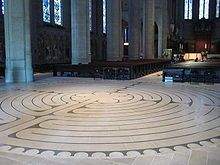 Labyrinth at Grace Cathedral. Prehistoric labyrinths are believed to have served as traps for malevolent spirits or as defined paths for ritual dances. Labyrinths can also be thought of as symbolic forms of pilgrimage; people can walk the path, ascending toward salvation or enlightenment. Many people could not afford to travel to holy sites and lands, so labyrinths substituted for travel.